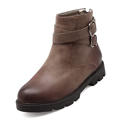 Women's Low Heels Solid Round Closed Toe Soft Material Zipper Boots