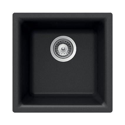 Houzer E 100 MIDNITE Quartztone Series Granite Dual Mount Bar/Prep Sink,  Black