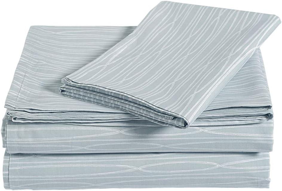 AmazonBasics Brushed Percale Cotton Bed Sheet Set, Twin, Infinity Stripe