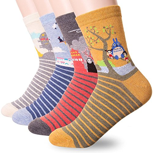 Women's Cute Fun Crew Cotton Socks 4-6 Pack, Gift Ideas for Cat Animal Lovers (Ghibli -