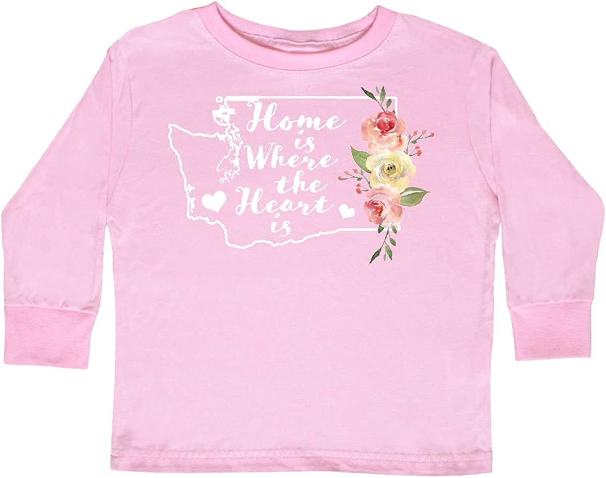 inktastic Washington Home is Where The Heart is with Toddler Long Sleeve T-Shirt