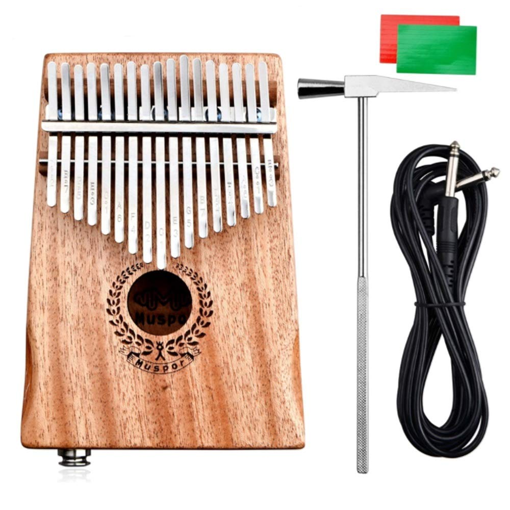 EQ Kalimba 17 Keys Thumb Piano With Jack Song Book Tuning Hammer Pickup Carry Bag Natural Mahogany Wood Finger Piano Metal Engraved Notation Tines Kids Musical Instrument Gifts for Music Lover Beginne