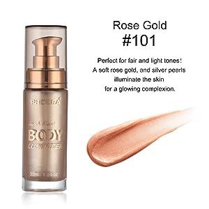 Liquid Highlighter, SUNSENT 3D Glow Liquid Highlighter,Smooth Shimmer Brighten Glow Liquid Illuminator Makeup for Face& Body 30ML