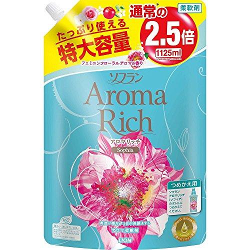 소프란 아로마리치 아로마 섬유유연제 소피아(페미닌 플로랄 아로마 의 향기) 리필용 특대 1125ml / 1,125ml×2개