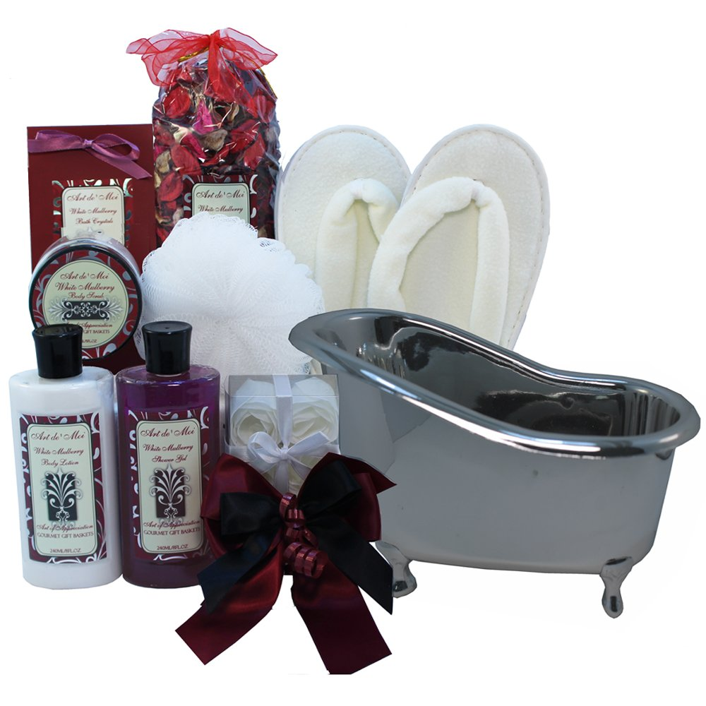 White Mulberry Bathtub Spa Bath and Body Gift Basket Set: Amazon.com ...