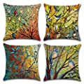 DUSEN Decorative Throw Pillow Covers for Couch, Sofa, or Bed Set of 4 18 x 18 inch Modern Quality Design Cotton Linen Cusion Cover