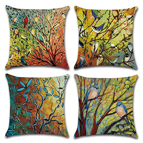 DUSEN Decorative Cotton Linen Set of 4 Throw Pillow Cushion Covers 18 x 18 inch for Sofa, Bench, Bed, Auto Seat (Oil Painting Vivid Birds and Trees Branch Pattern)
