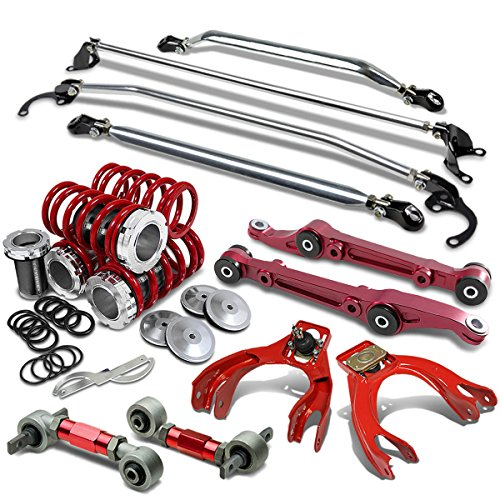 (For Civic/Del Sol/Integra Coilover+Camber Arm Set+Strut Bar Set+Front Lower Control Bar (Red) - EG EH)