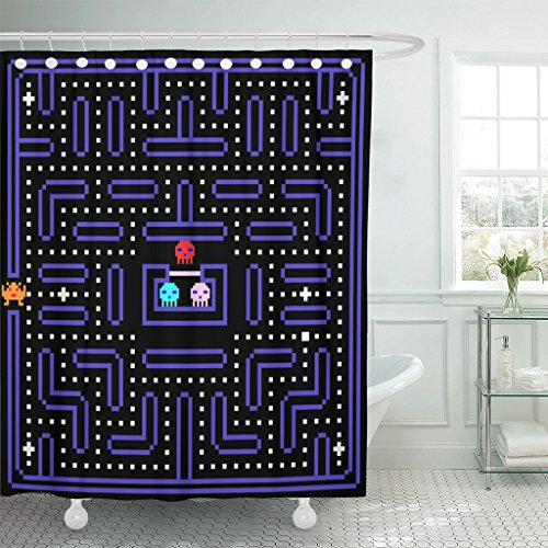 (TOMPOP Shower Curtain 80S 8 Bit Pixel Retro Arcade Game Old Video Waterproof Polyester Fabric 72 x 72 Inches Set with Hooks)