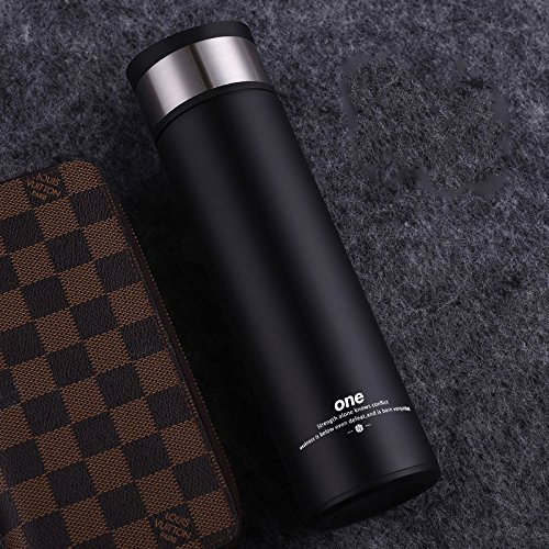 Black Stainless Steel Bottle Coffee Travel Mug With Tea Infuser 14Oz