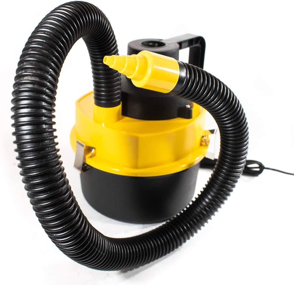 VC602 Powerful Handheld Car Wet Dry Canister Vacuum Portable for Crumbs Pet Hair Dust 12 Volts Yellow