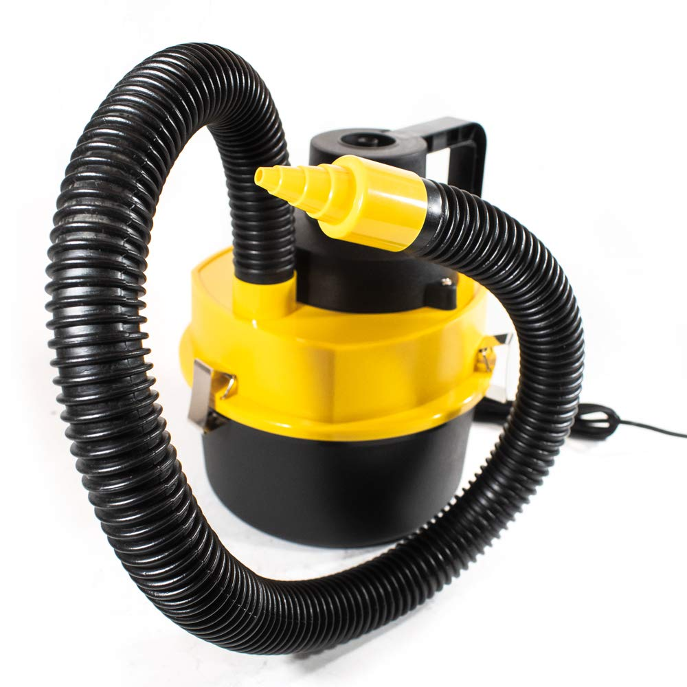 ALEKO VC602 Powerful Handheld Car Wet Dry Canister Vacuum Portable for Crumbs Pet Hair Dust 12 Volts Yellow