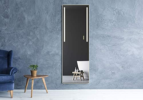 B C Danube Super Slim Dressing Mirror Vertical LED Backlit Polished Edge Frameless Dimmer Touch Switch Copper Free Silver Backed MD02 72×36 inch
