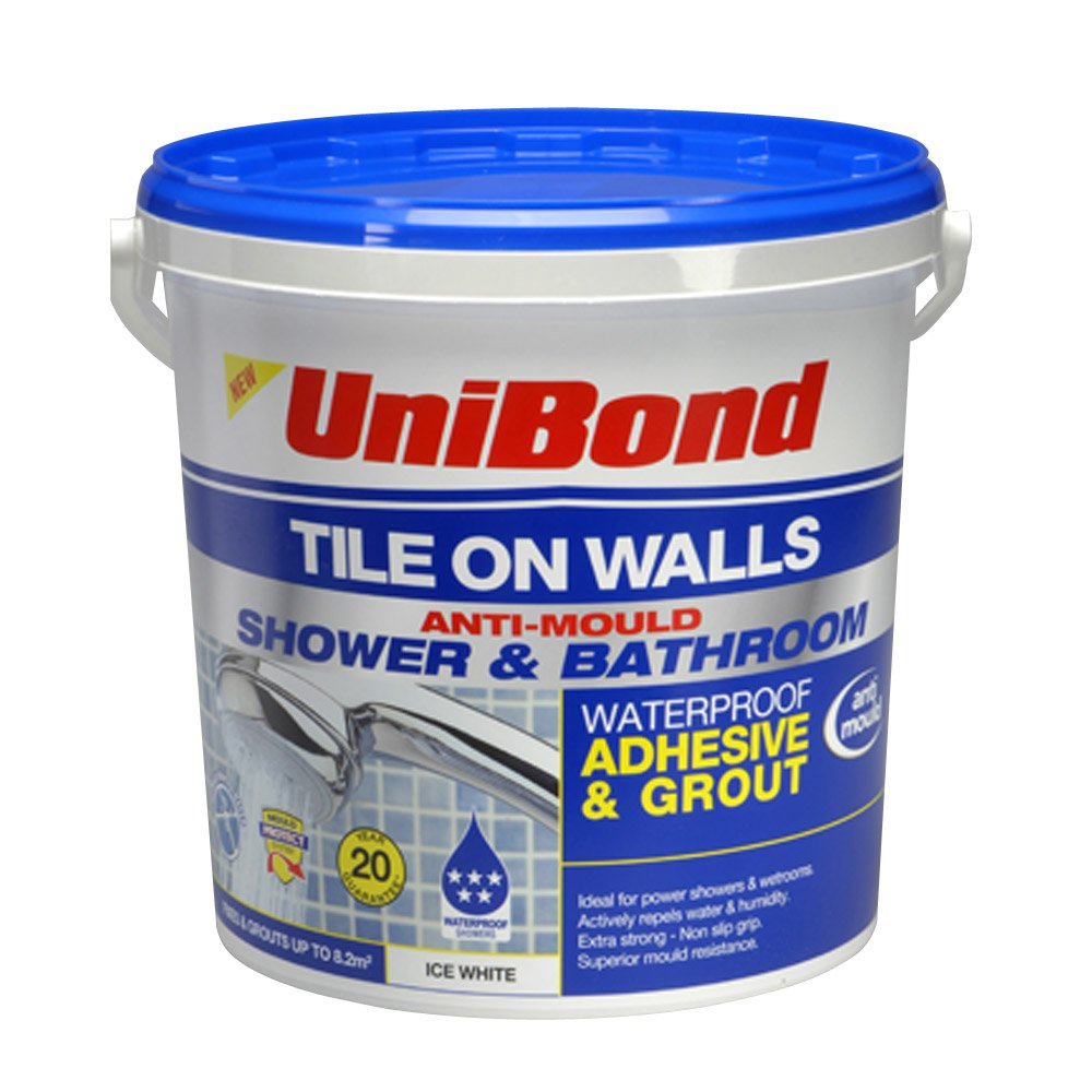 Unibond tile on walls anti mould ready mixed shower and bathroom unibond tile on walls anti mould ready mixed shower and bathroom waterproof adhesivegrout trade bucket ice white amazon diy tools dailygadgetfo Images
