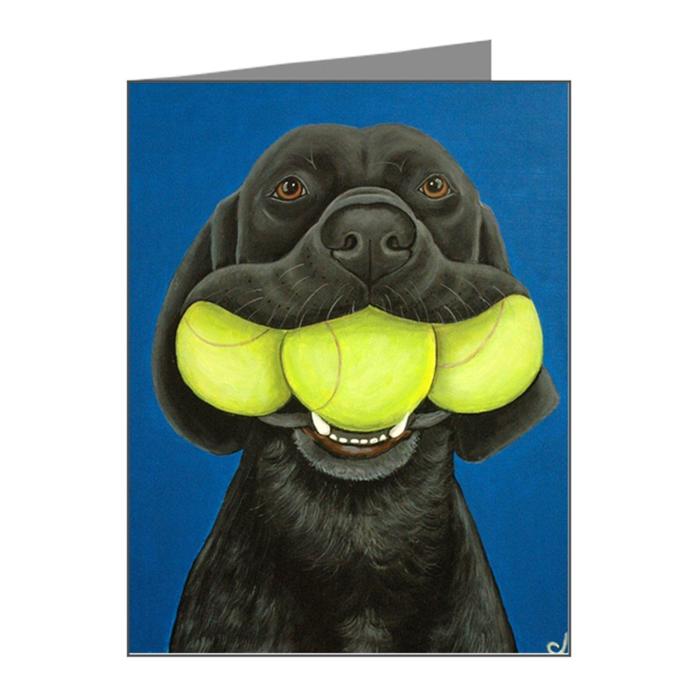 CafePress - Black Lab With 3 Tennis Ball Note Cards (Pk Of 20) - Blank Note Cards (Pack of 20) Matte