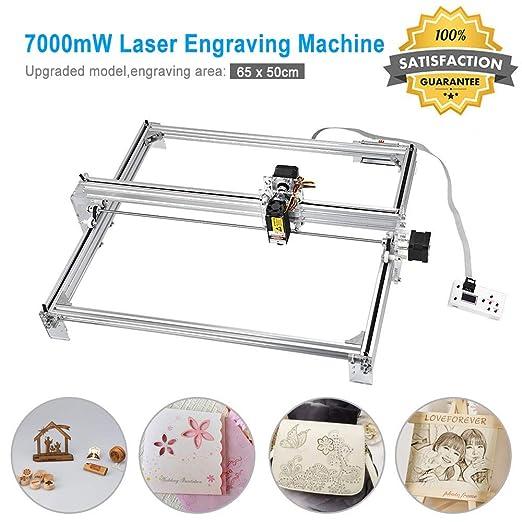 TOPQSC 7000MW CNC Máquina de Grabado Láser Kit, Grabador Láser de Escritorio 12V USB Carver, Area de Grabado 60X50 CM, Impresora Láser de Potencia ...
