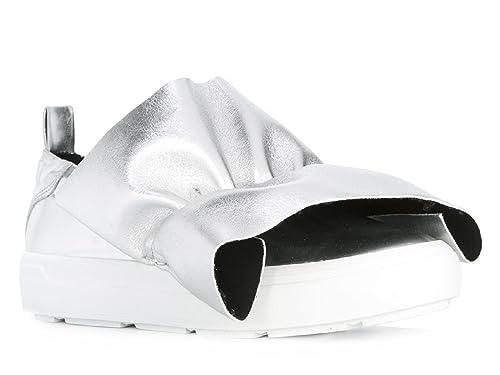 MSGM Sneakers Slip-on Donna in Pelle Argento  Amazon.it  Scarpe e borse 1e35c37a031