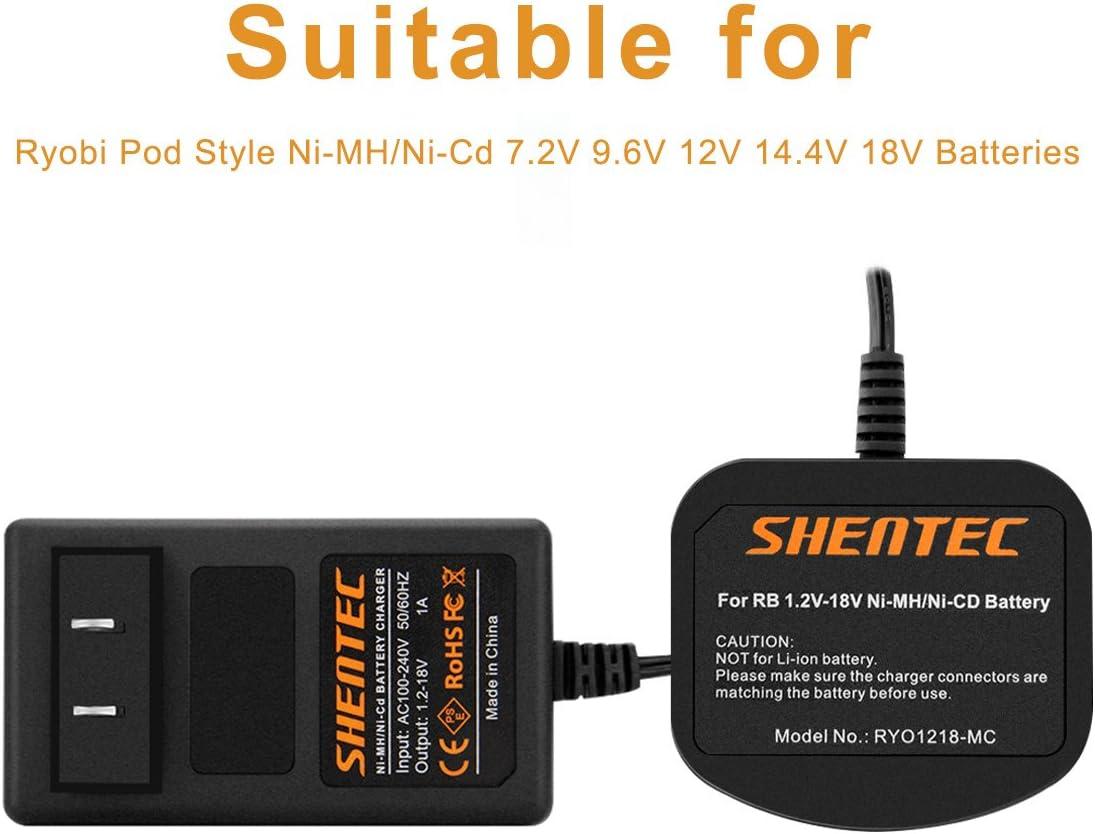 Not for Ryobi Li-ion Battery Shentec 1.2V-18V Battery Charger Compatible with Ryobi Ni-MH//Ni-Cd 7.2V 9.6V 12V 14.4V 18V Pod Style Batteries
