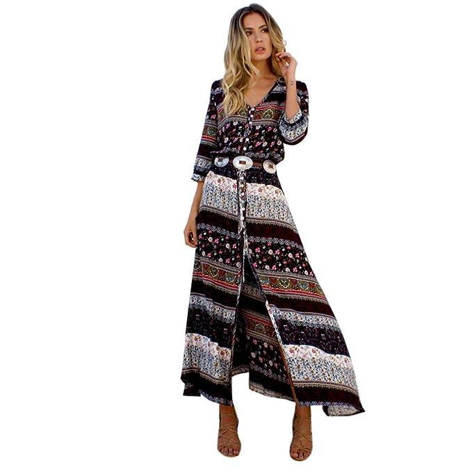 ZARLLE Vestidos Largos Mujer, Vestido De Mujer con Estampado De Gran TamañO Las Mujeres De Baile Vestido De Noche Largo Floral Impreso Vestido De ...