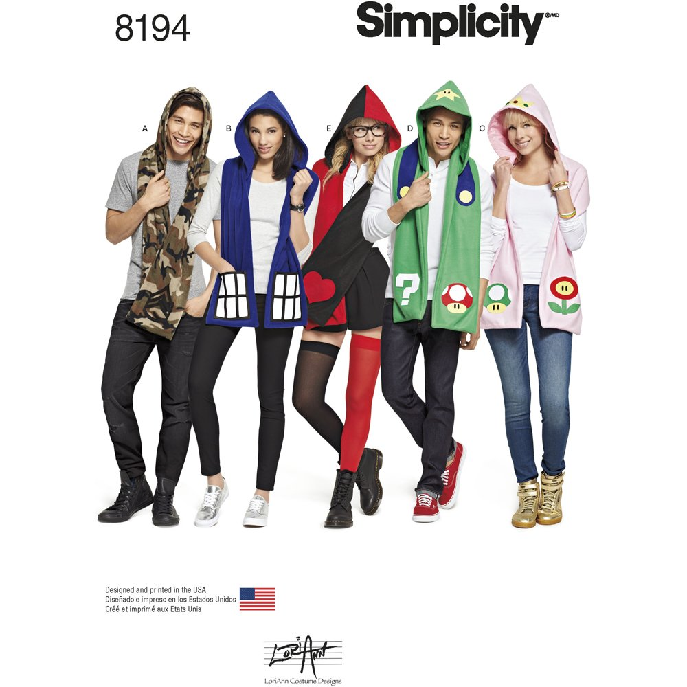 Simplicity 8194 Misses', Men's and Teens' Hooded Scarves with Appliques, OS (ONE Size) Simplicity 8194 Misses' US8194OS