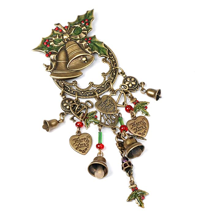 f44cac02e15 Amazon.com  Sweet Romance Vintage Christmas Holly Bells Holiday Pin Brooch   Brooches And Pins  Jewelry