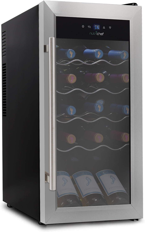 18 Bottle Wine Cooler Refrigerator - White Red Wine Fridge Chiller Countertop Wine Cooler - Freestanding Compact Mini Wine Fridge 18 Bottle w/Digital Control, Stainless Steel Door - NutriChef PKCWC18
