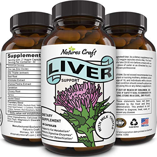 Best Liver Supplements with Milk Thistle - Artichoke - Dandelion Root Support Healthy Liver Function for Men and Women Natural Detox Cleanse Capsules Boost Immune System Relief - Natures Craft (Liver Aid)