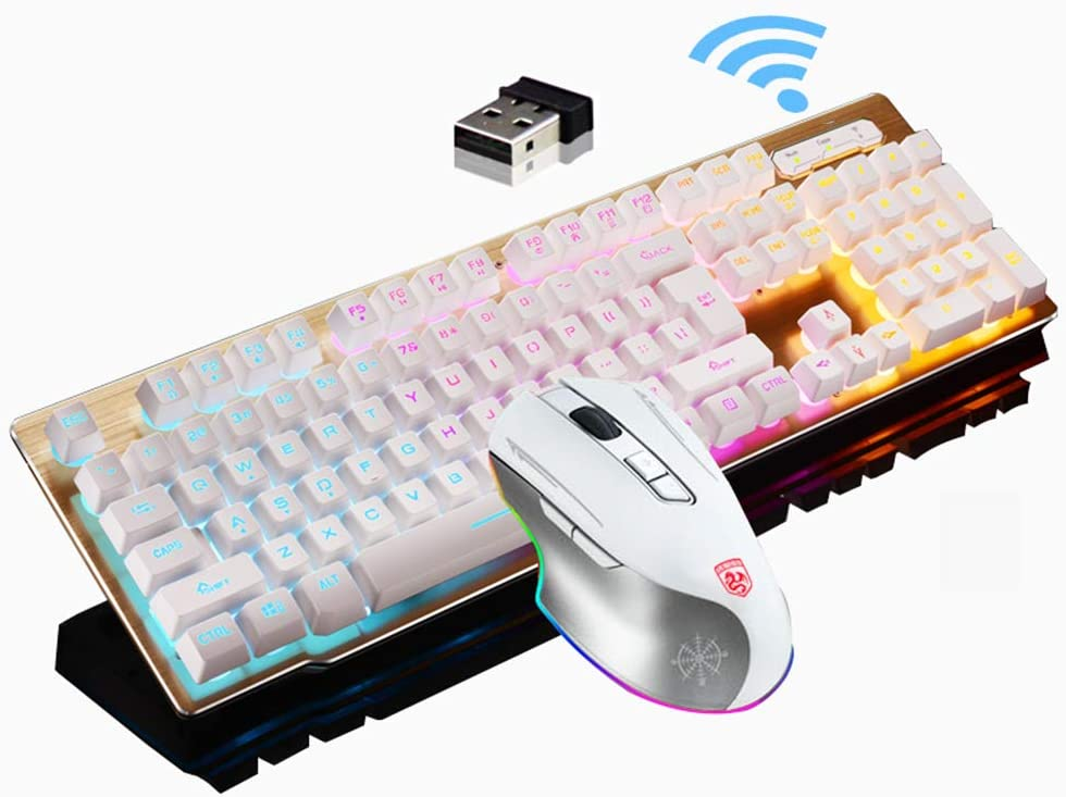 Cigooxm Wired Gaming Keyboard and Mouse Combo 104 Keys Rainbow Backlit Keybaord and RGB Breathing Light Mouse Ergonomic Office Keyboard