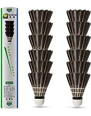 Whizz Badminton Birdie Goose Feather Shuttlecocks, Tube of 12, Black