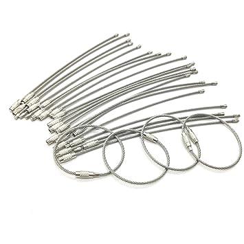 Huele 25 unidades Llavero alambre de acero inoxidable Cable ...