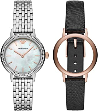 Emporio Armani Reloj Analógico para Mujer de Cuarzo con Correa en Acero Inoxidable AR80020: Amazon.es: Relojes
