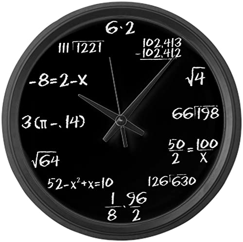 CafePress – Black Slate Math – Large 17 Round Wall Clock, Unique Decorative Clock