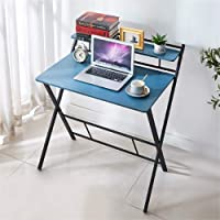 KH Study Folding Desk for Small Space Home Office Desk Simple Laptop Writing Table Computer Desk (Blue)