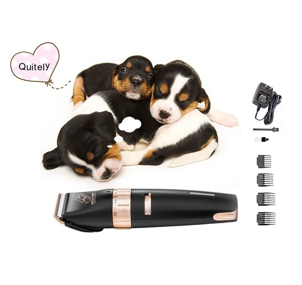 Electric Pet Clipper, Grocery House Rechargable Quiet Cordless Dogs Cats Pet Clipper, Grooming Electric Clippers Kit, Black