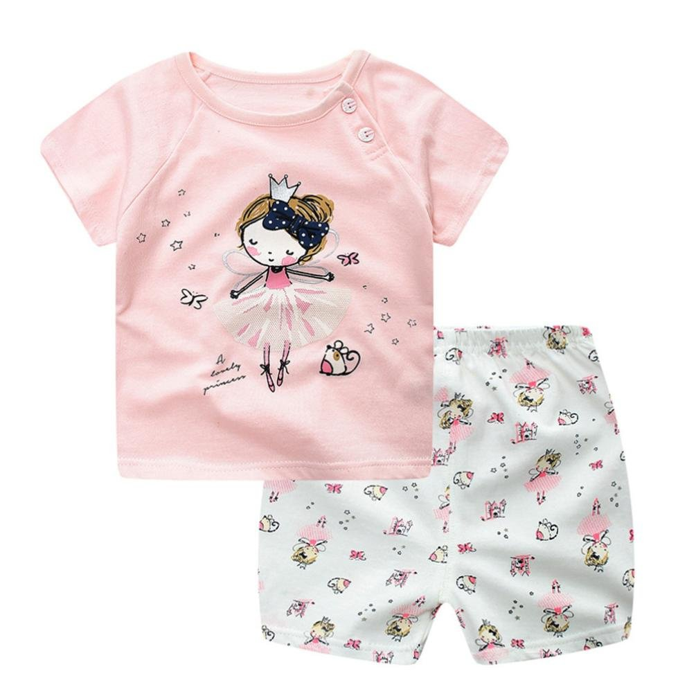Jimmackey 2pcs Neonato Ragazzi Gilet T-Shirt Stampa Gatto Camicia Cime + Pantaloncini Abiti Set