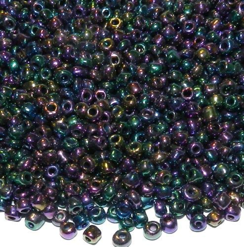 SBL1402 Purple Peacock Iris Rainbow 6/0 4mm Rondelle Glass Seed Beads 4oz Crafting Key Chain Bracelet Necklace Jewelry Accessories Pendants
