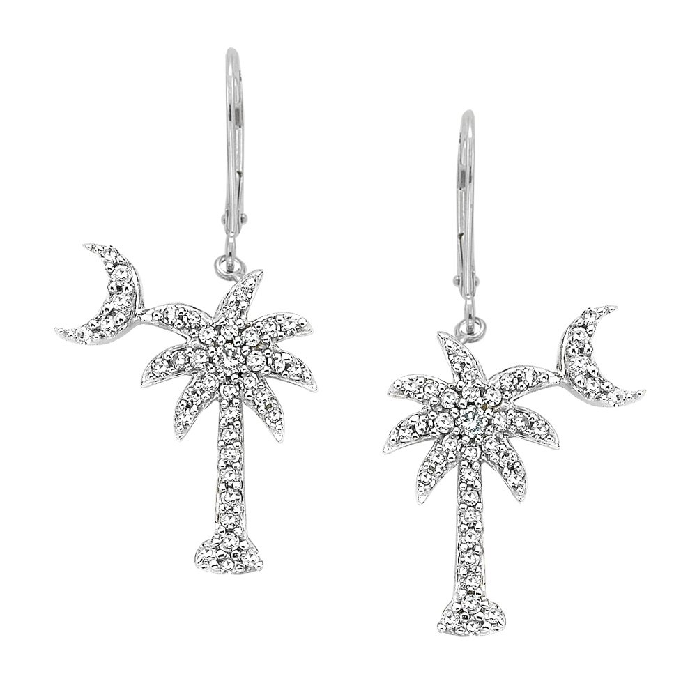 Diamond''Palm Tree with Crescent Moon'' Earrings in 14K White Gold (1/3 cttw)
