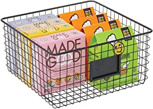 mDesign Farmhouse Decor Metal Wire Food Organizer Storage Bin Baskets with Label Slot for Kitchen Cabinets, Pantry, Bathroom, Laundry Room, Closets, Garage - Matte Black