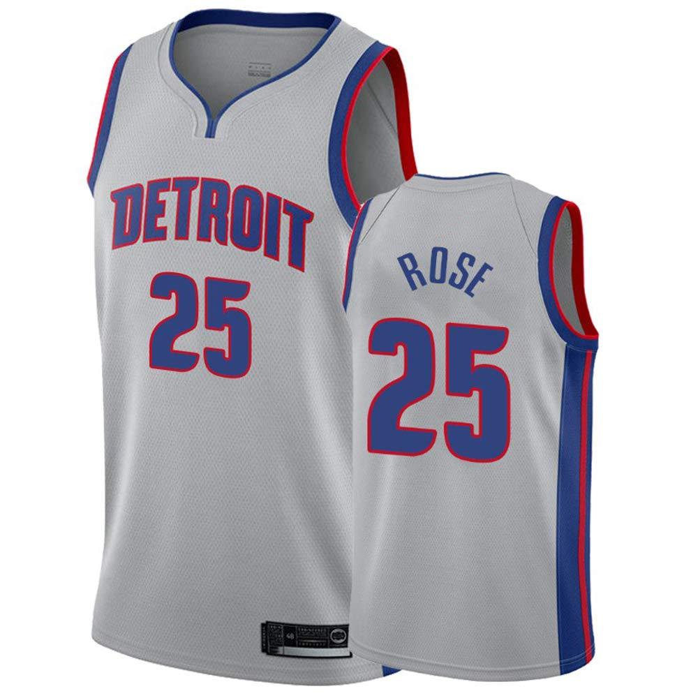 PANGOIE Hombre Mujer Detroit Pistons 25# Rose T-Shirt de ...
