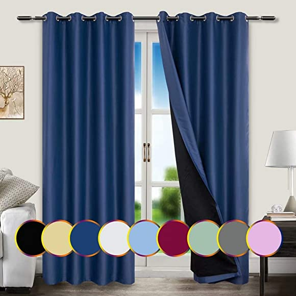 Mitlatem Navy Blue Full Blackout Curtains Grommet Energy Efficient Window Drapes 2 Panels W72 x L96 Inch for Living Room, Patio Door, Bedroom Navy Blue, 72 W x 96 L