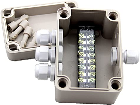 SamIdea 4.3x 3.1 x 2.8 ABS IP66 Waterproof Universal Electrical Project Enclosure Junction Box With 8P 15A Barrier Terminals,1IN//3 Out Cable Glands TM