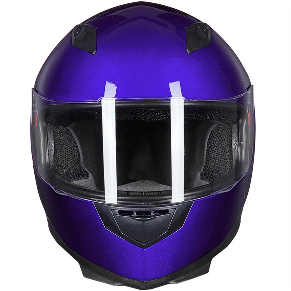 ILM Full Face Motorcycle Street Bike Helmet with Removable Winter Neck Scarf S, Gloss Black 2 Visors DOT