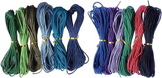 F Fityle 12 Colores Cuerda Hilo de Algodón Encerado Cordón de ...