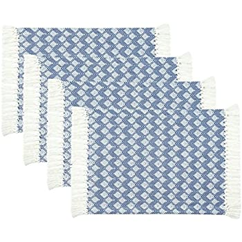 Sticky Toffee Cotton Woven Placemat Set with Fringe, Scalloped Diamond, 4 Pack, Blue, 14 in x 19 in