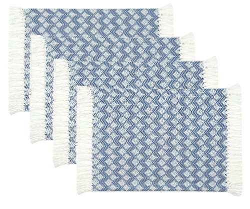 (Sticky Toffee Cotton Woven Placemat Set with Fringe, Scalloped Diamond, 4 Pack, Blue, 14 in x 19 in)