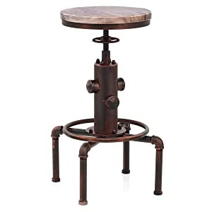 Topower American Antique Vintage Industrial Barstool Solid Wood Water Pipe Fire Hydrant Design Cafe Coffee Industrial Bar Stool (Red Bronze, 1)