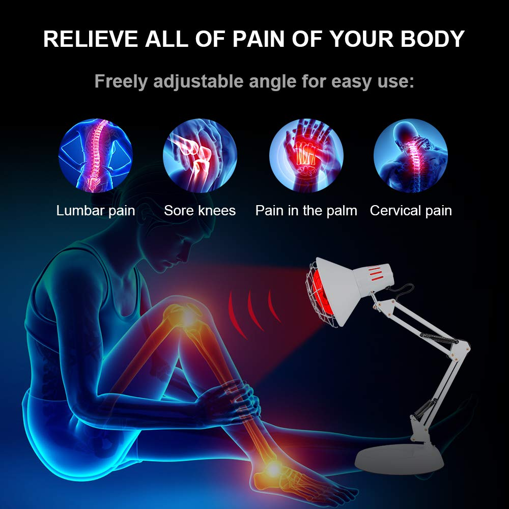 New 150W Near Infrared Light Red Light Therapy Heat Lamp Set for Body Muscle Joint Pain Relief with Improve Sleep Blood Circulation Back Shoulder Finger Pain Home Serfory 110V by Serfory (Image #5)