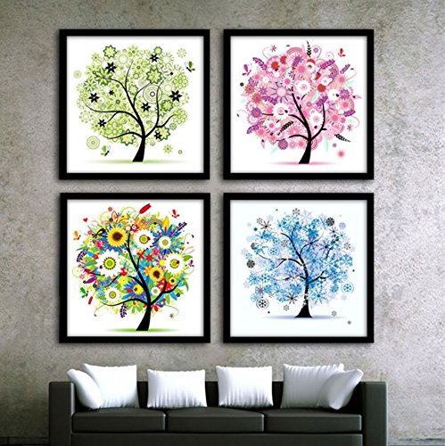 Margaret Sherry Cross Stitch (Cross Stitch Kit Painting, Four Season x 4 Pcs. DIY Needlework Handmade Embroidery Home Room Decor)