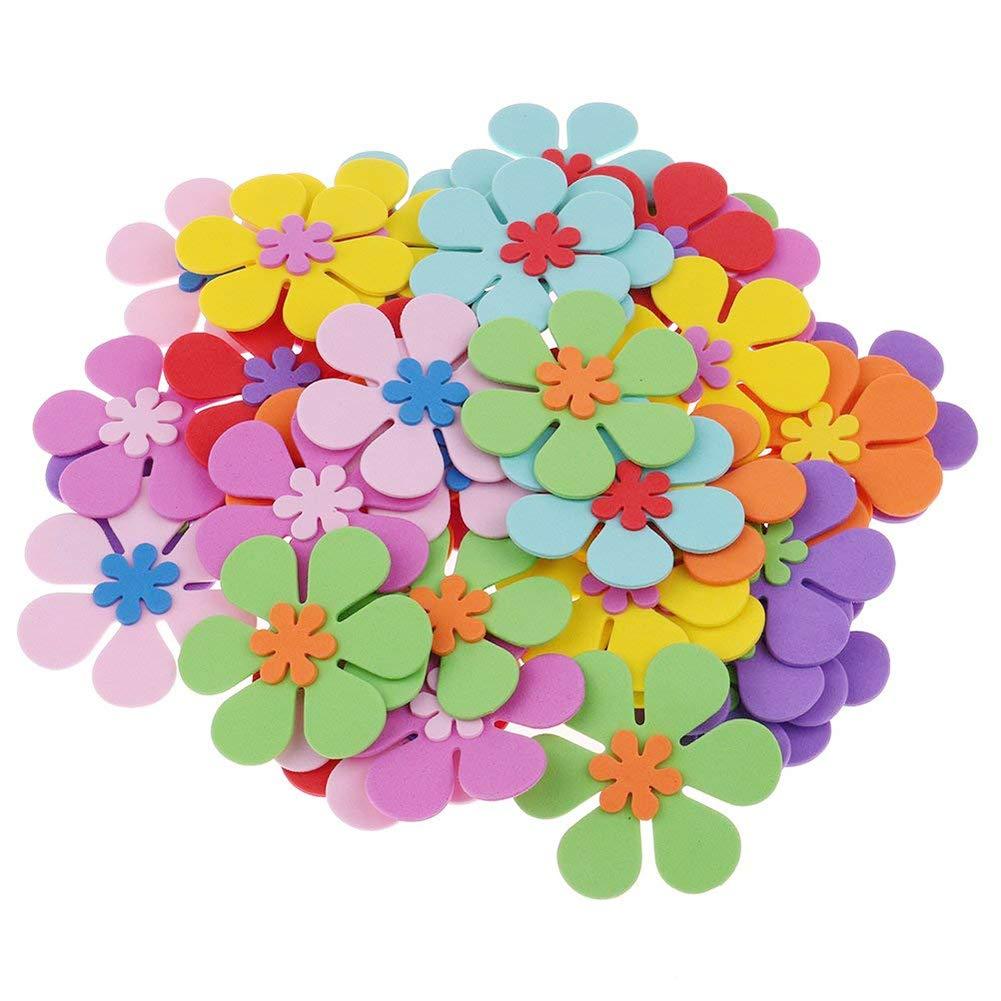 Loveinusa 160 Pcs Foam Flower Shapes Sticker For Kids Diy Art Project Hand Craft Not Self Adhesive