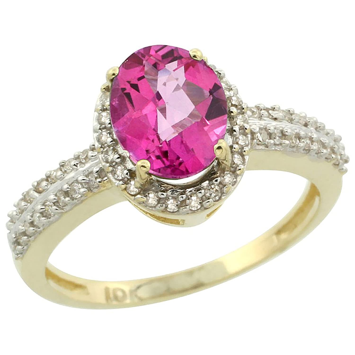 14K Yellow Gold Natural Pink Sapphire Ring Oval 8x6mm Diamond Halo ...
